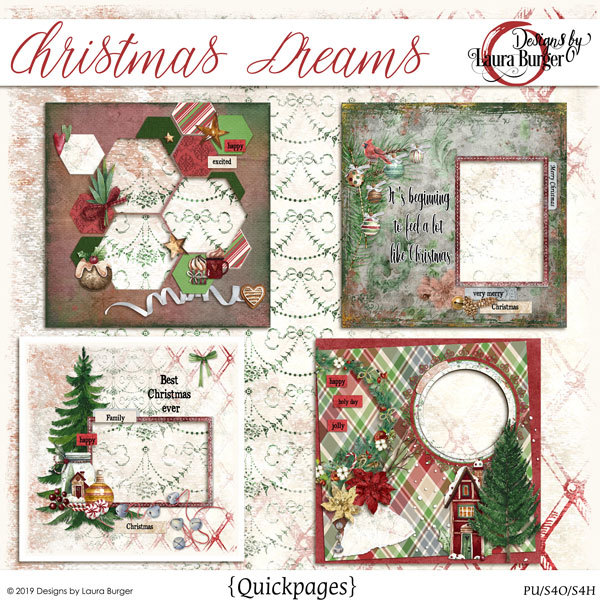 Christmas Dreams Quickpages Digital Art - Digital Scrapbooking Kits