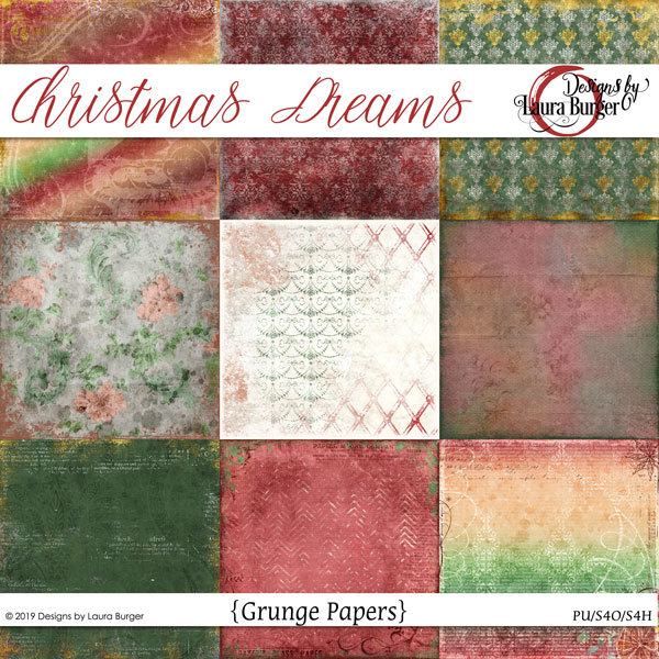 Christmas Dreams Grunge Papers Digital Art - Digital Scrapbooking Kits