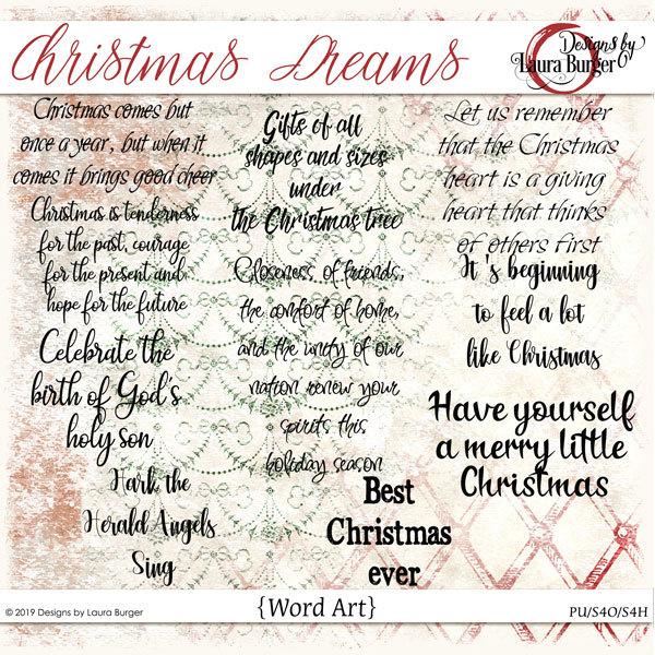Christmas Dreams Word Art Digital Art - Digital Scrapbooking Kits