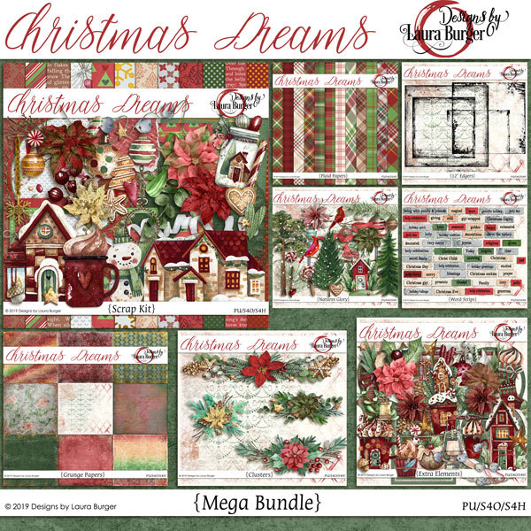 Christmas Dreams Mega Bundle With Exclusive Pieces Digital Art - Digital Scrapbooking Kits