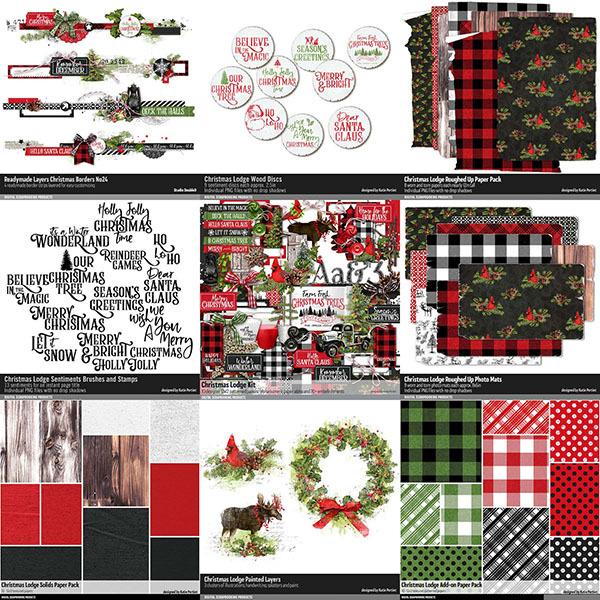 Christmas Lodge Scrapbooking Bundle Digital Art - Digital Scrapbooking Kits