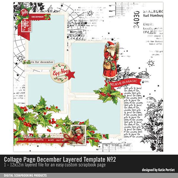 Collage Page December Layered Template No. 02 Digital Art - Digital Scrapbooking Kits