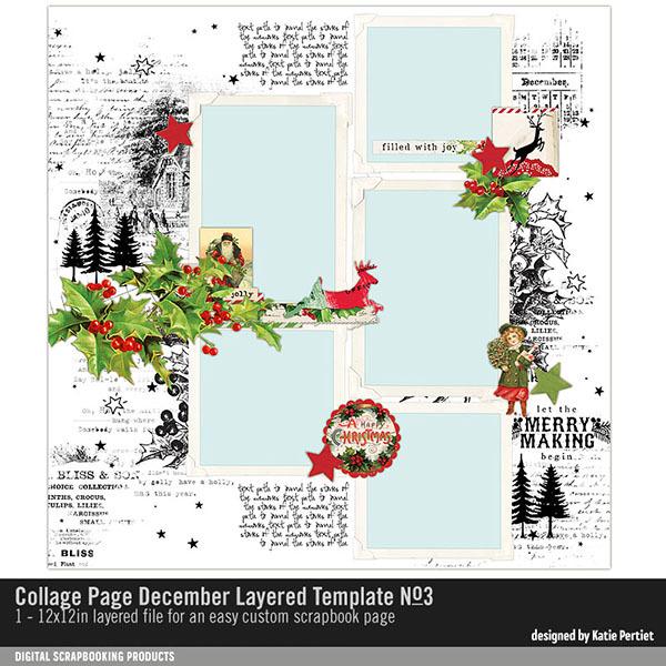 Collage Page December Layered Template No. 03 Digital Art - Digital Scrapbooking Kits