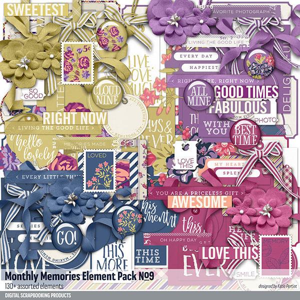 Monthly Memories Element Pack No. 09 Digital Art - Digital Scrapbooking Kits