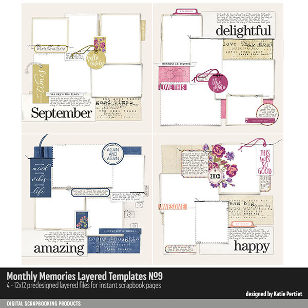 Monthly Memories Layered Template Pack No. 09 Digital Art - Digital Scrapbooking Kits