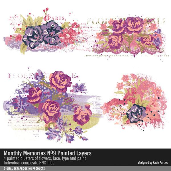 Monthly Memories No. 09 Painted Layers Digital Art - Digital Scrapbooking Kits