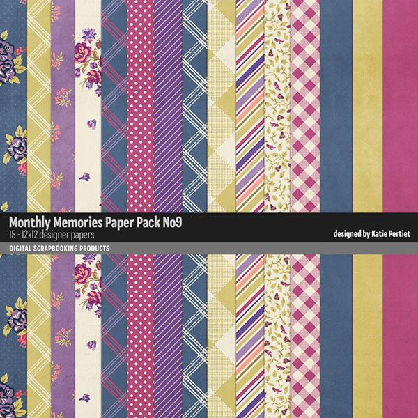 Monthly Memories Paper Pack No. 09 Digital Art - Digital Scrapbooking Kits