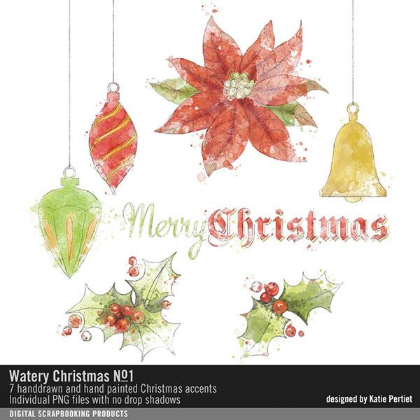 Watery Christmas No. 01 Digital Art - Digital Scrapbooking Kits