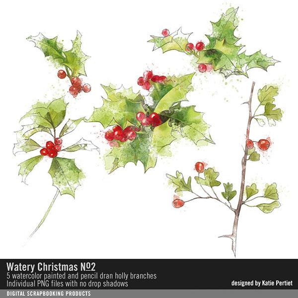 Watery Christmas No. 02 Digital Art - Digital Scrapbooking Kits