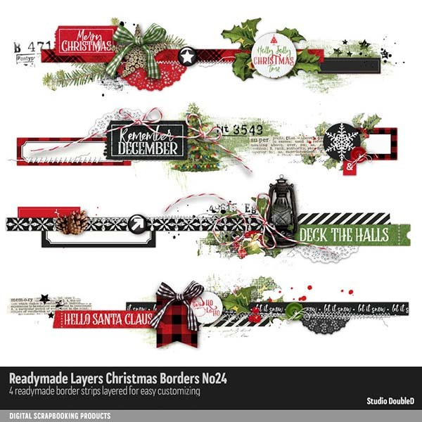Readymade Layers Christmas Borders No. 24 Digital Art - Digital Scrapbooking Kits