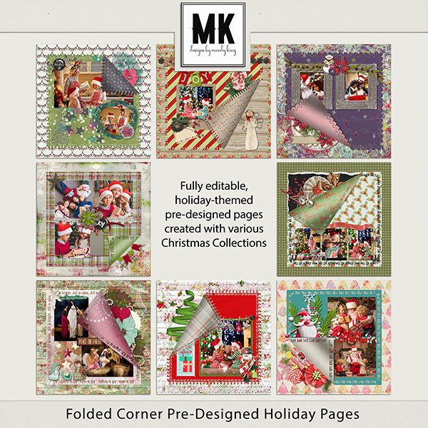 Folded Corner Pre-Designed Holiday Pages