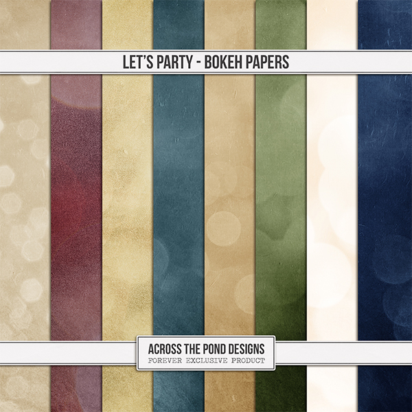 Let's Party Bokeh Papers Digital Art - Digital Scrapbooking Kits