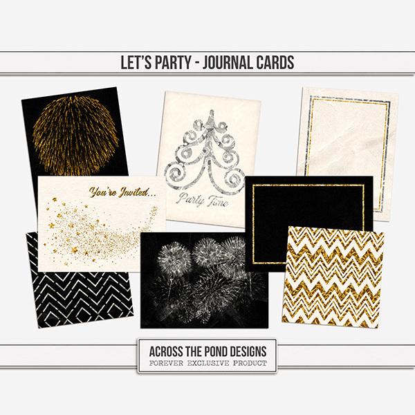 Let's Party Journal Cards Digital Art - Digital Scrapbooking Kits