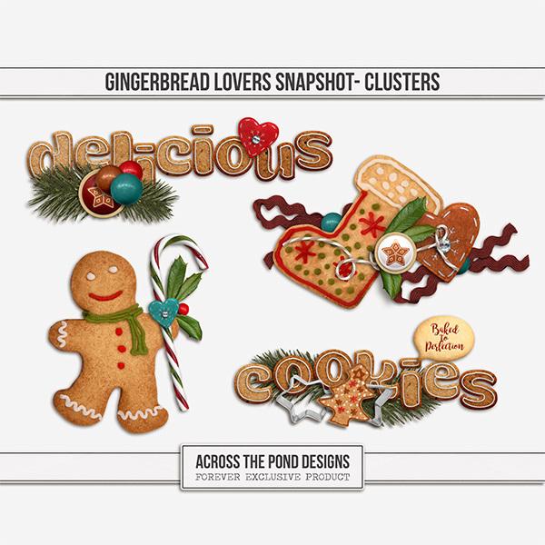 Gingerbread Lovers Snapshot - Clusters Digital Art - Digital Scrapbooking Kits