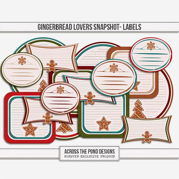 Gingerbread Lovers Snapshot - Labels Digital Art - Digital Scrapbooking Kits