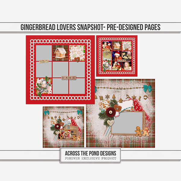 Gingerbread Lovers Snapshot - Pre-Designed Pages Digital Art - Digital Scrapbooking Kits