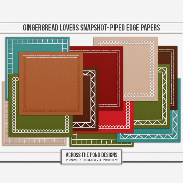 Gingerbread Lovers Snapshot - Piped Edge Papers Digital Art - Digital Scrapbooking Kits