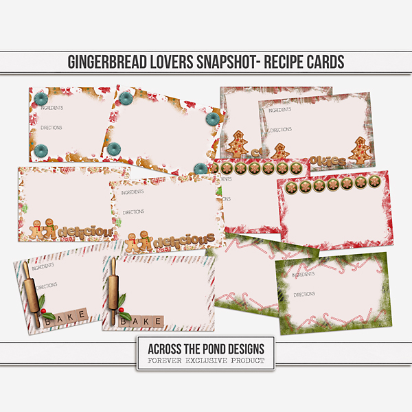 Gingerbread Lovers Snapshot - Recipe Cards Digital Art - Digital Scrapbooking Kits
