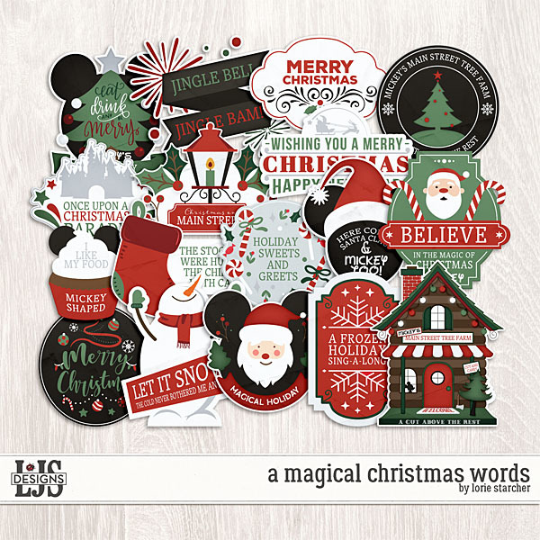 A Magical Christmas Words Digital Art - Digital Scrapbooking Kits