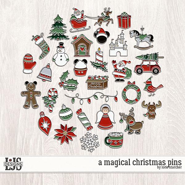 A Magical Christmas Pins Digital Art - Digital Scrapbooking Kits