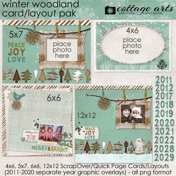 Winter Woodland Holiday Card & Layout Pak Digital Art - Digital Scrapbooking Kits
