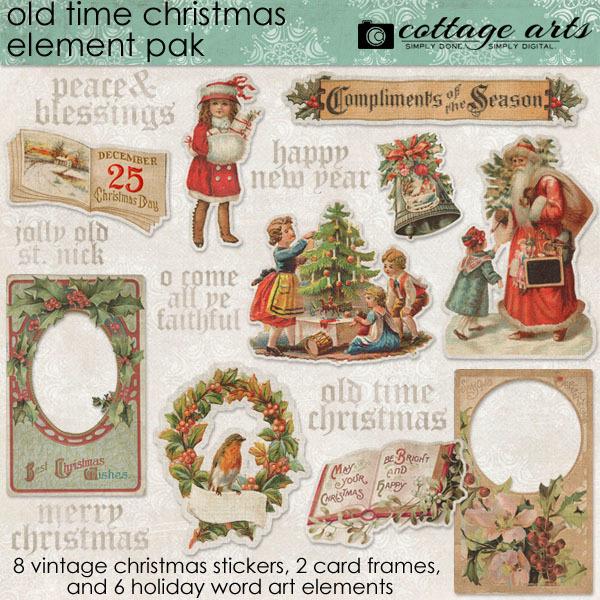 Old Time Christmas Element Pak Digital Art - Digital Scrapbooking Kits