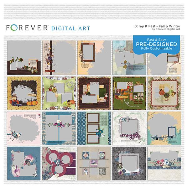 Scrap It Fast - Fall & Winter Digital Art - Digital Scrapbooking Kits