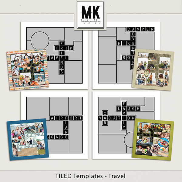 TILED Templates - Travel Digital Art - Digital Scrapbooking Kits