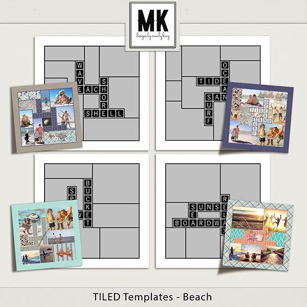 TILED Templates - Beach Digital Art - Digital Scrapbooking Kits