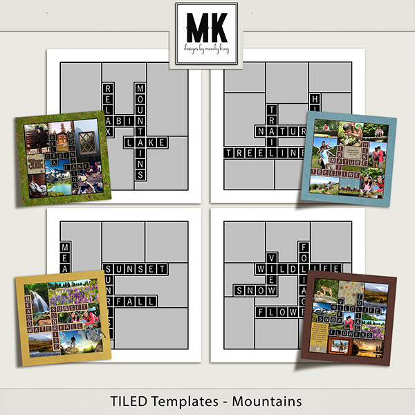 TILED Templates - Mountains Digital Art - Digital Scrapbooking Kits