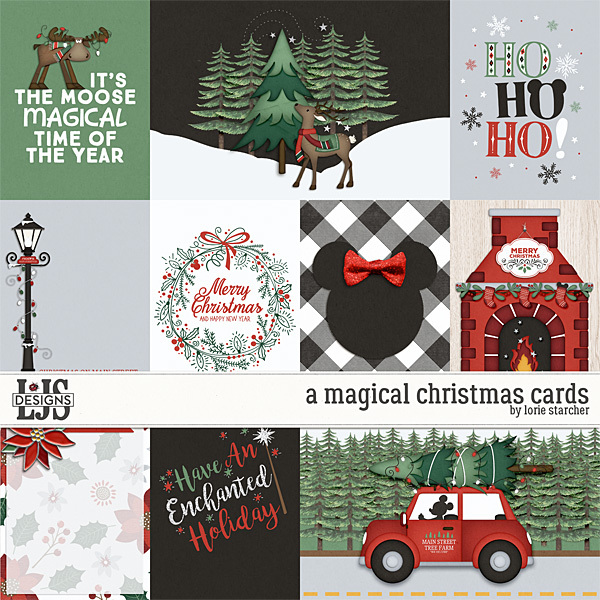 A Magical Christmas Cards Digital Art - Digital Scrapbooking Kits