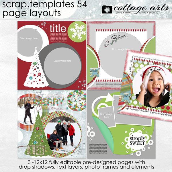 12 x 12 Scrap Templates 54 - Page Layouts Digital Art - Digital Scrapbooking Kits