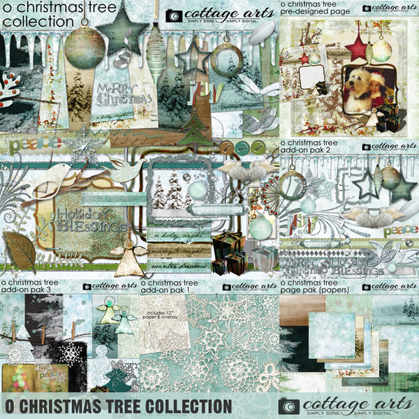 O Christmas Tree Collection Digital Art - Digital Scrapbooking Kits