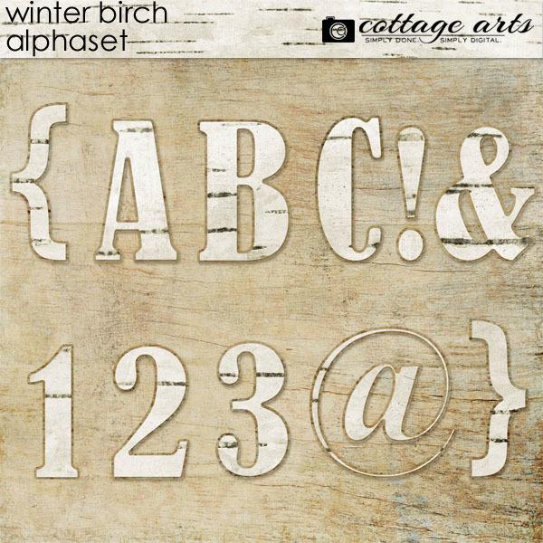 Winter Birch AlphaSet Digital Art - Digital Scrapbooking Kits