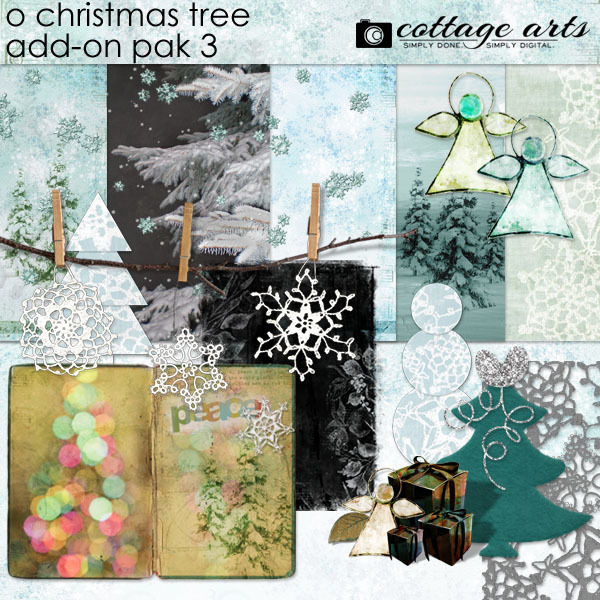 O Christmas Tree Add-On Pak 3 Digital Art - Digital Scrapbooking Kits