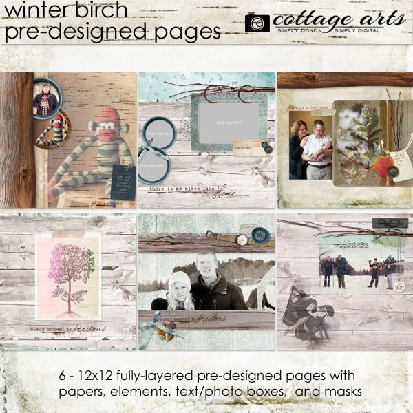 Winter Birch Pre-designed Pages Digital Art - Digital Scrapbooking Kits