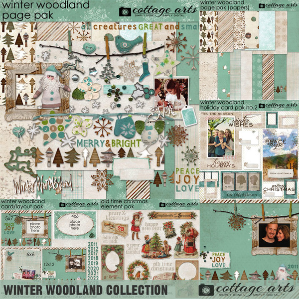 Winter Woodland Collection Digital Art - Digital Scrapbooking Kits