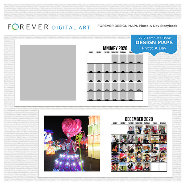 Forever Design Maps Photo A Day Storybook Digital Art - Digital Scrapbooking Kits