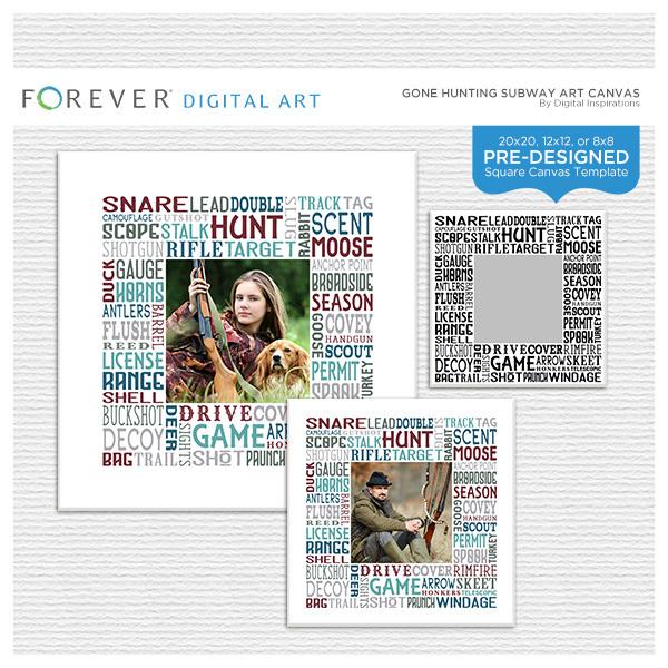 Gone Hunting Subway Art Canvas Digital Art - Digital Scrapbooking Kits