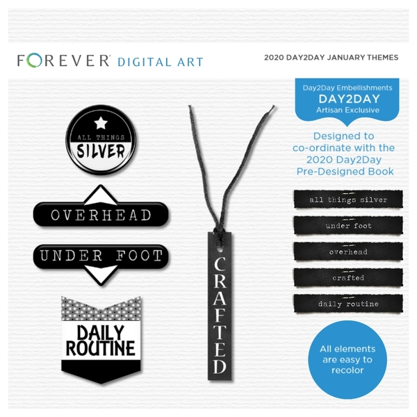 2020 Day2Day January Themes Digital Art - Digital Scrapbooking Kits