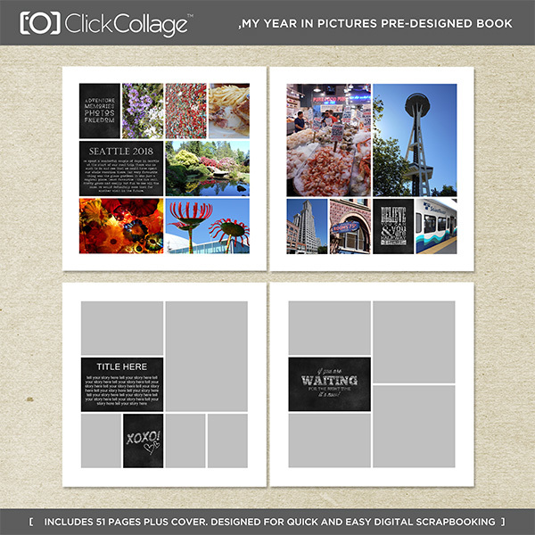 My Year in Pictures Pre-designed Book Digital Art - Digital Scrapbooking Kits
