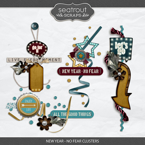 New Year - No Fear Clusters Digital Art - Digital Scrapbooking Kits