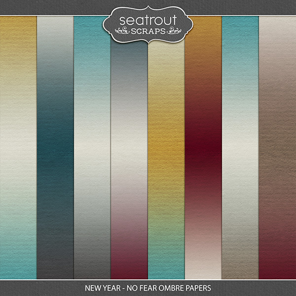 New Year - No Fear Ombre Papers Digital Art - Digital Scrapbooking Kits
