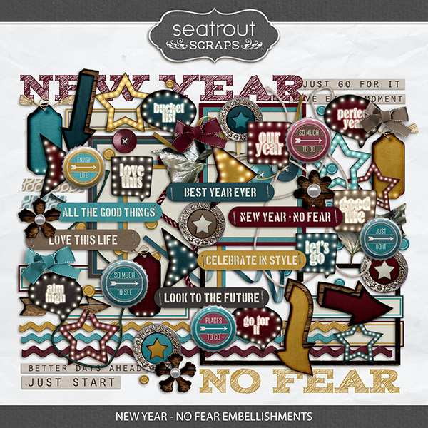 New Year - No Fear Embellishments Digital Art - Digital Scrapbooking Kits
