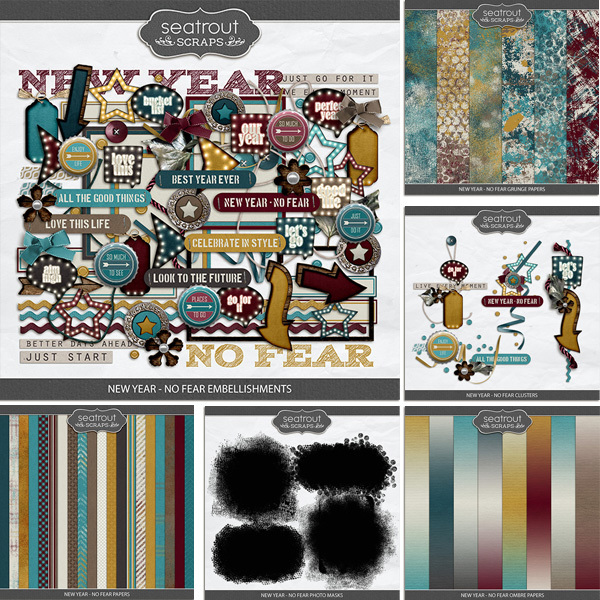 New Year - No Fear Bundle Digital Art - Digital Scrapbooking Kits