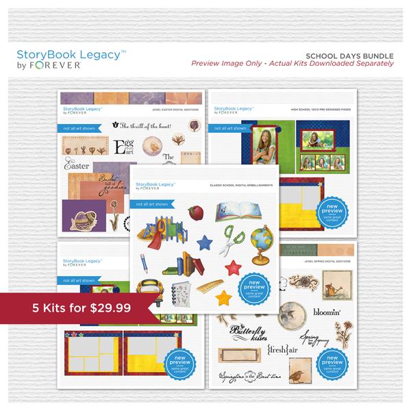 School Days StoryBook Legacy™ Bundle Digital Art - Digital Scrapbooking Kits
