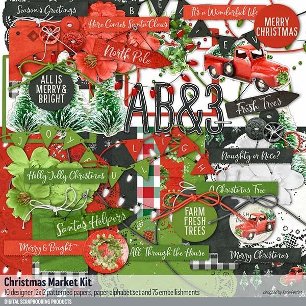 Christmas Market Kit Digital Art - Digital Scrapbooking Kits