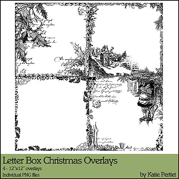 Letter Box Christmas Overlays No. 01 Digital Art - Digital Scrapbooking Kits
