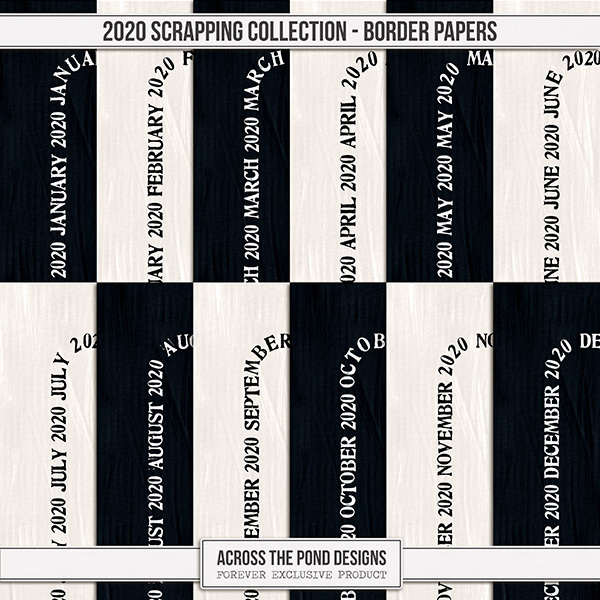 2020 Scrapbooking Collection Border Papers Digital Art - Digital Scrapbooking Kits