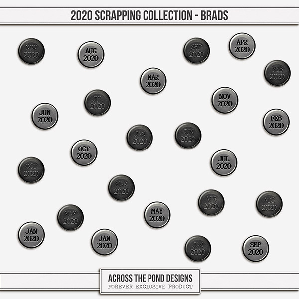 2020 Scrapbooking Collection Brads Digital Art - Digital Scrapbooking Kits